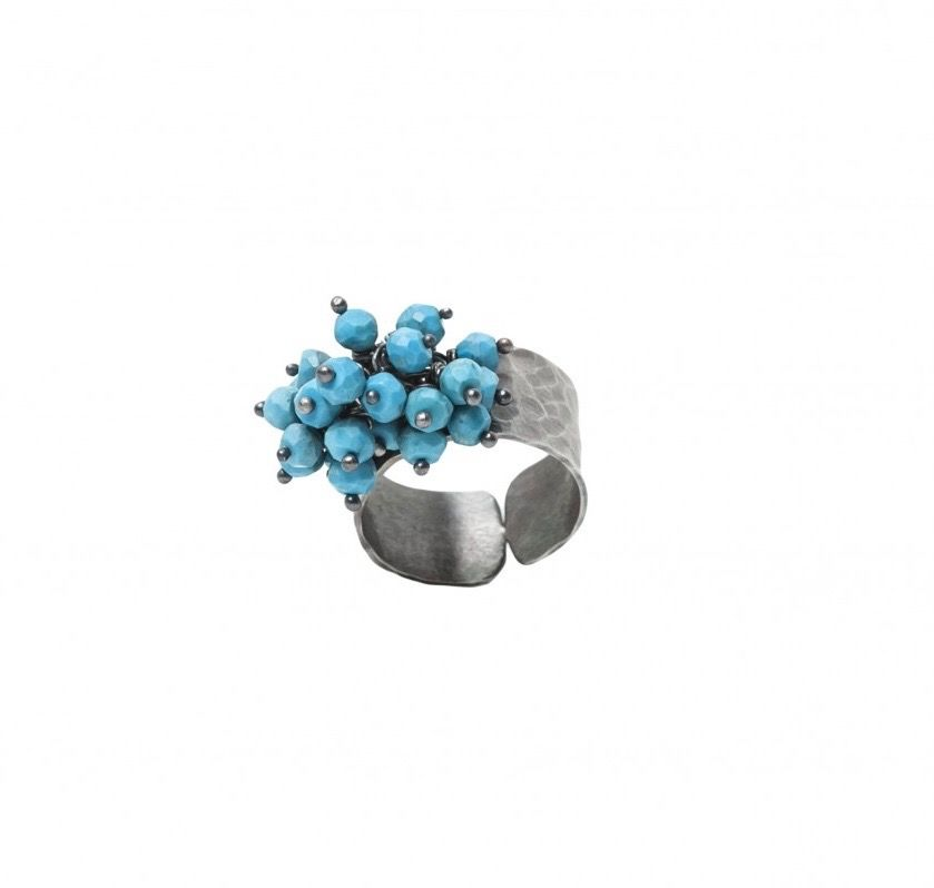 silver turquoise cluster ring jewellery store