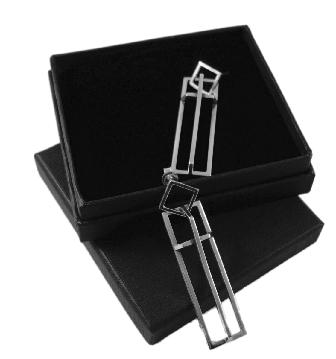 Geometric | SILVER LONG DANGLE STUD EARRINGS - product images  of