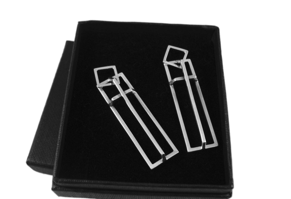 Geometric | SILVER LONG DANGLE STUD EARRINGS - product image