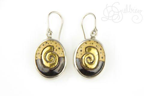 In,Gold,|,SILVER,DANGLE,EARRINGS,With,CERAMIC,Silver Dangle Earrings, ceramic earrings, enamel bespoke jewellery