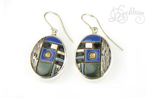 In,Blue,|,SILVER,DANGLE,EARRINGS,With,CERAMIC,Silver Dangle Earrings, ceramic earrings, bespoke jewellery