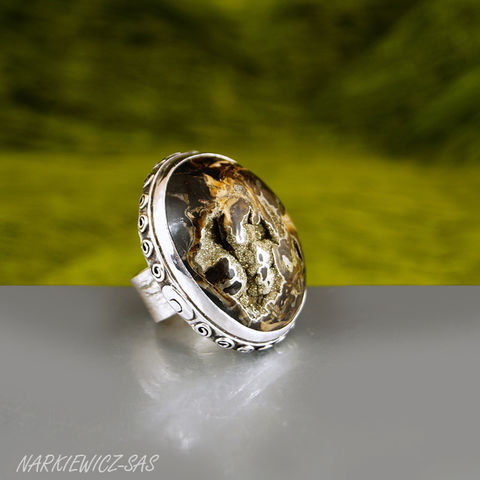 PYRITE,AMMONITE,SILVER,RING,Pyrite Ring, ammonite silver ring, bespoke jewellery