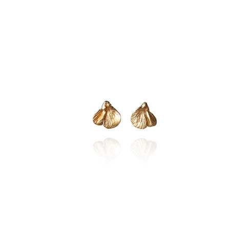 Gingko,Golden,Leaves,SILVER,STUD,EARRINGS,Gingko Silver Earrings, gold plated studs, bespoke jewellery