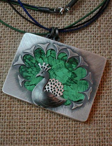 Peacock,|,SILVER,PENDANT,NECKLACE,With,MALACHITE,Peacock Silver Pendant, malachite necklace, bespoke jewellery
