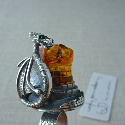 Waiting,for,a,Prince,Charming,|,SILVER,AMBER,RING,Silver Dragon Ring, amber ring, bespoke jewellery