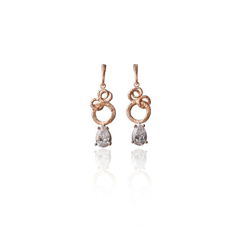 Intertwined,Circles,|,ROSE,GOLD,DROP,EARRINGS,With,ZIRCON,Rose Gold Drop Earrings, zircon studs, handmade jewellery