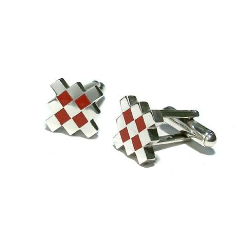 Geometric,Red,ENAMEL,SILVER,CUFFLINKS,Geometric Silver Cufflinks, red enamel cufflinks, punk jewellery store
