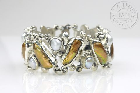 Ninette,|,SILVER,BRACELET,With,White,&,GOLDEN,PEARLS,Silver bracelet, white and golden pearls, unique silver jewellery