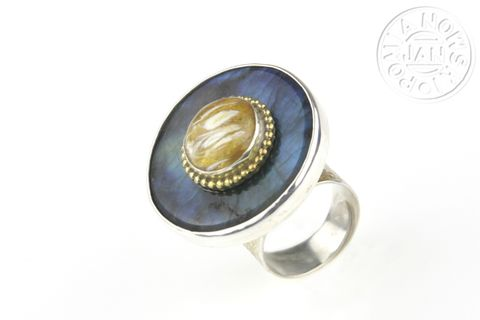 SILVER,BIG,LABRADORITE,&,AMBER,RING,Silver Big Labradorite Ring, amber ring, luxury bespoke jewellery