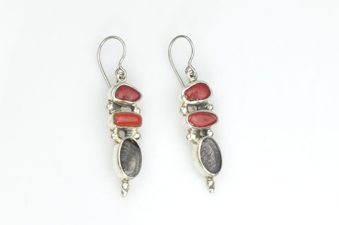SILVER,CORAL,DANGLE,EARRINGS,With,Tourmalined,QUARTZ,Silver Coral Dangle Earrings, tourmalines quartz earrings, bespoke jewellery store