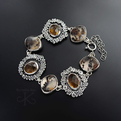 Following,The,Time,|,SILVER,DENDRITE,AGATE,BRACELET,With,CITRINE,Silver Dendrite Agate Bracelet, citrine bracelet, silver jewellery store