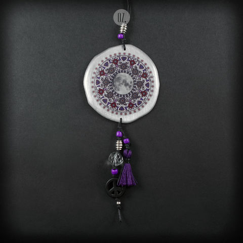 PURPLE,MOON,MANDALA,|,ALUMINIUM,LONG,PENDANT,NECKLACE,Aluminium Pendant With Resin, long howlite necklace, bespoke jewellery