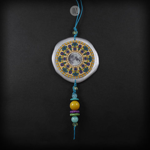 MUSTARD,MOON,MANDALA,|,ALUMINIUM,LONG,PENDANT,NECKLACE,Aluminium Pendant With Resin, long gemstone necklace, bespoke jewellery