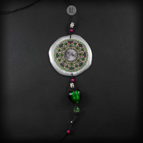 FOREST,MOON,MANDALA,|,ALUMINIUM,RESIN,LONG,NECKLACE,Aluminium Pendant With Resin, long glass necklace, bespoke jewellery