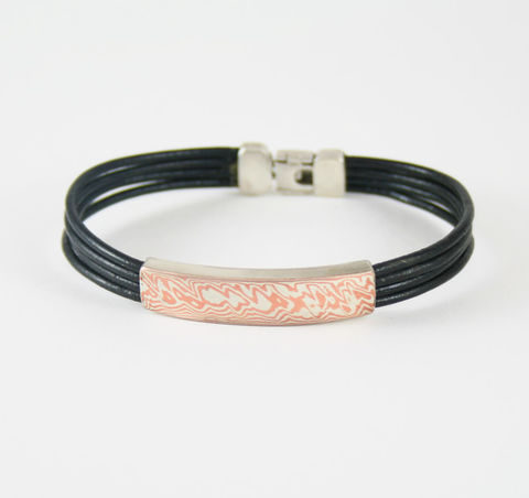 SILVER,&,MOKUME,Gane,WRAPPED,LEATHER,BRACELET,Mokume Gane, leather wrapped bracelet, silver jewellery store