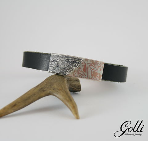 MENS,WRAPPED,LEATHER,BRACELET,With,SILVER,&,MOKUME,GANE,Mens Leather Bracelet, mokume gane bracelet, silver jewellery store