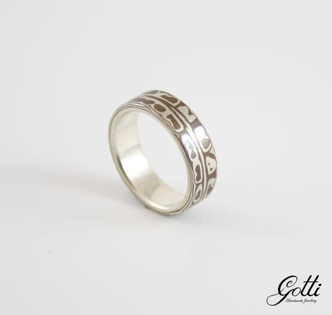 SILVER,BAND,RING,With,Mokume,Gane,Silver Band Ring, mokume gane ring, bespoke jewellery store