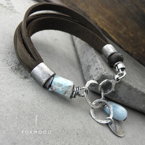 LEATHER,STRAP,BRACELET,With,SILVER,&,GEMSTONES,leather bracelet, aquamarine, larimar, amber, silver handmade jewellery store