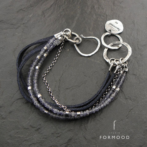 SILVER,&,LEATHER,BRACELET,With,IOLITE,beaded bracelet, oxidized sterling silver, iolite, unique jewellery online shop