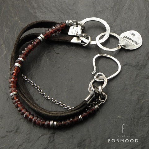 LEATHER,&,SILVER,BRACELET,With,GARNET,oxidised sterling silver, garnet, leather bracelet, handmade jewellery store
