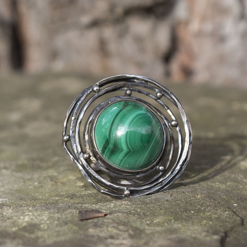 Nest,|,925,Silver,Malachite,Ring,oxidised silver ring, malachite ring, contemporary jewellery london