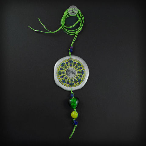 LIME,MOON,MANDALA,|,PENDANT,NECKLACE,WITH,JADE,mandala pendant, jade necklace, cool jewellery shop London