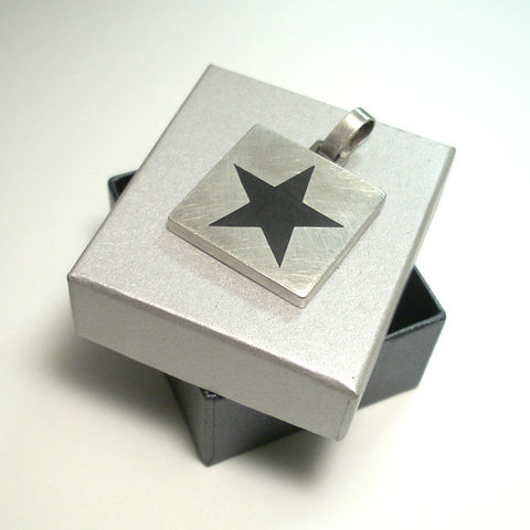 BLACK,STAR,|,Big,SILVER,SQUARE,PENDANT,Black star Silver Pendant, black star pendant, unique jewellery online London, David Bowie jewellery
