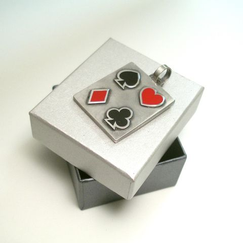 Playing,Cards,Symbols,|,SILVER,&,ENAMEL,PENDANT,playing cards symbol, silver square pendant, biker jewellery London