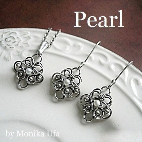 Femini,|,Silver,&,Pearl,Bridal,Jewellery,Set,Silver Bridal Jewellery, pearl bridal earrings, jewellery store London