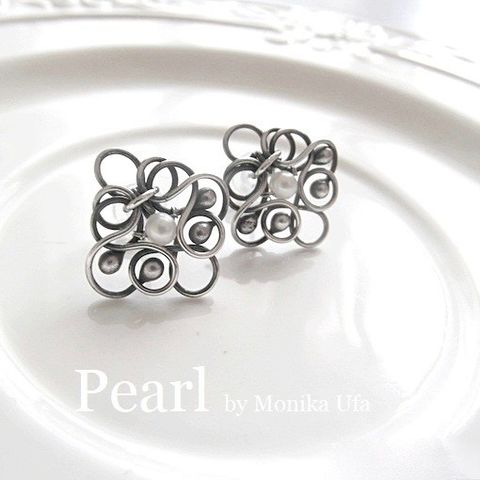 Femini,Bridal,Silver,&,Pearl,Stud,Earrings,Bridal Silver Stud Earrings, pearl earrings, silver jewellery store London