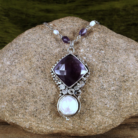 AMETHYST,AND,PEARL,Pendant,Necklace,Amethyst Pendant, silver pearl necklace, handmade jewellery store UK