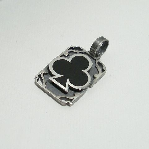 Black,Club,|,SILVER,&,ENAMEL,SQUARE,PENDANT,Black Club Pendant, silver square pendant, biker jewellery store uk