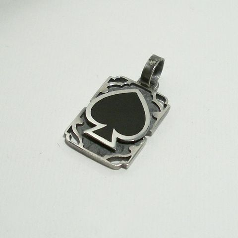 Ace,Of,Spades,|,SILVER,&,ENAMEL,SQUARE,PENDANT,Ace Of Spades Pendant, square silver pendant, biker jewellery store uk
