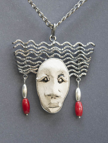 Red,Coral,Beads,|,SILVER,&,CERAMIC,PENDANT,Red Coral Pendant, silver & ceramic pendant, artisan jewellery store London