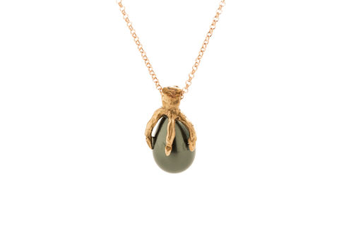 EGGTHIEF,|,SILVER,&,BRONZE,PENDANT,With,SHELL,PEARL,Silver Shell Pearl Pendant, bronze pendant necklace, bespoke jewellery shop UK