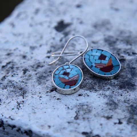 Roses,SILVER,&,GLASS,MOSAIC,DANGLE,EARRINGS,Silver Dangle Earrings, glass micro mosaic jewellery, artisan jewellery store London