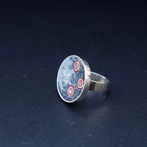 Constellation,GLASS,MICROMOSAIC,SILVER,RING,Silver Circle Ring, micromosaic jewellery, handmade jewellery store uk