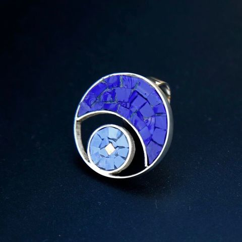 Blue,Moon,GLASS,MOSAIC,SILVER,RING,Glass Mosaic Ring, silver jewellery store united kingdom