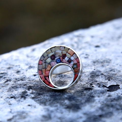 Rhapsody,In,Pink,GLASS,MICROMOSAIC,SILVER,RING,Glass Mosaic Ring, silver statement ring, jewellery store united kingdom