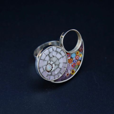 Millefiori,SILVER,&,GLASS,MOSAIC,RING,Micromosaic Ring, silver ring, glass jewellery London