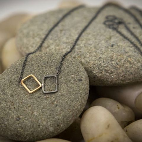 LITTLE,SQUARE |,SILVER,AND,GOLD,NECKLACE,SIlver Square Necklace, gold necklace, silver jewellery store