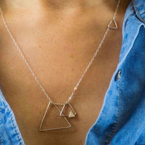 TRIANGLES,SILVER,PENDANT,NECKLACE,Silver Necklace, triangles pendant, silver jewellery store