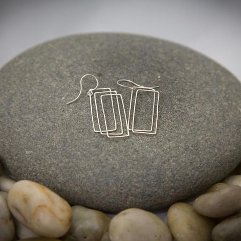ASYMMETRIC,RECTANGLE,SILVER,DANGLE,EARRINGS,Silver Dangle Earrings, rectangle earrings, jewellery online store