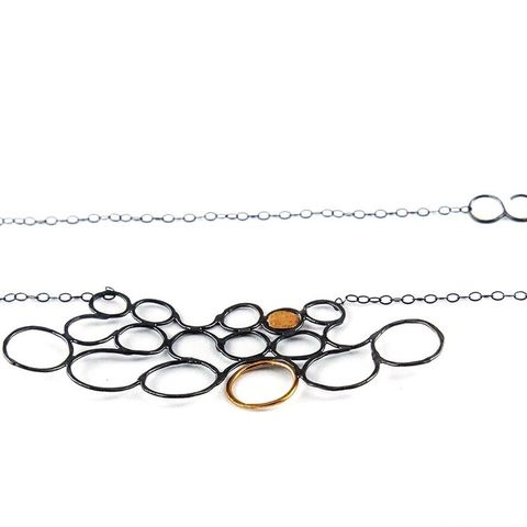 CIRCLES,SILVER,&,GOLD,NECKLACE,Silver Circle Necklace, gold pendant, luxury silver jewellery