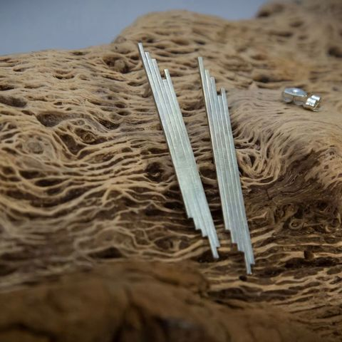 ARCHITECTURE,LINES,SILVER,STUD,EARRINGS,Silver Long Earrings, silver studs, bespoke jewellery store