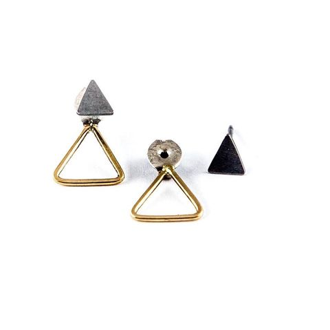 TRIANGLES,JACKET,|,GOLD,&,SILVER,STUD,EARRING,Gold Earrings, silver triangle studs, bespoke jewellery store