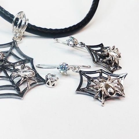 Spiders,|,SILVER,JEWELLERY,SET,Silver Jewellery Set, spiders jewellery