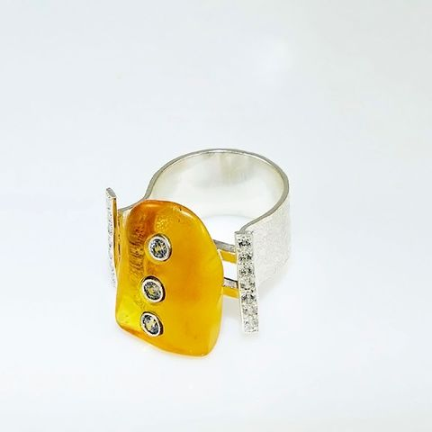 AMBER,Fury,|,SILVER,RING,With,ZIRCONS,Amber Silver Ring, zircon ring, silver jewellery store