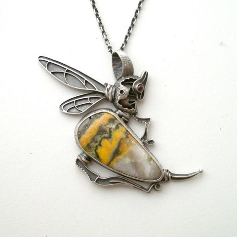 Bee,|,Silver,&,Bumble,Jasper,Pendant,Bumble Jasper Pendant, silver necklace, artisan jewellery store