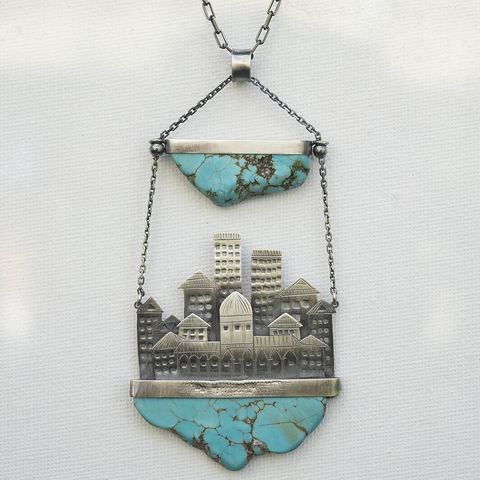 Turquoise,City,|,Statement,Silver,Pendant,Turquoise Silver Pendant, artisan jewellery store UK